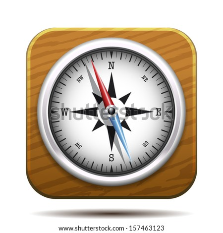 silver compass with wooden background square, travel and app