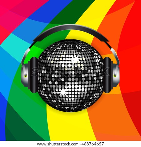 Silver Disco Ball with Headphones Over Rainbow Background