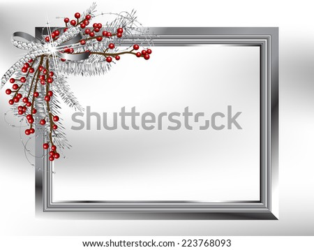 Silver garland with bow and needles in the frame