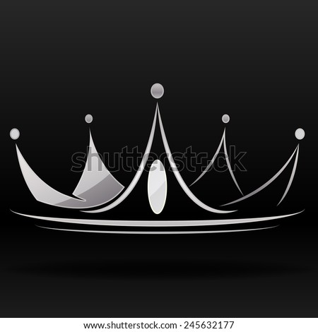 silver luxury crown for logo and graphic designer on black background