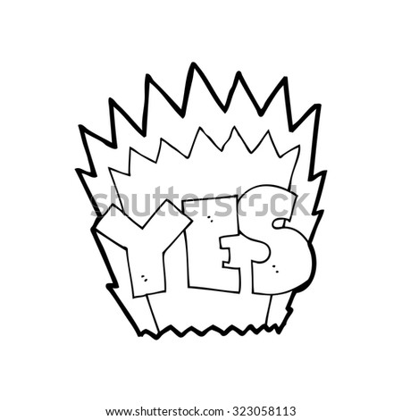 simple black and white line drawing cartoon  yes symbol