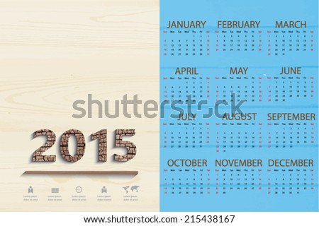 Simple calendar 2015 on bright blue wood plank background, Vector EPS 10