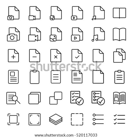 simple document thin line icons set on white background
