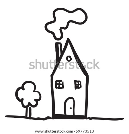 Simple Drawing Of A House Stock Vector