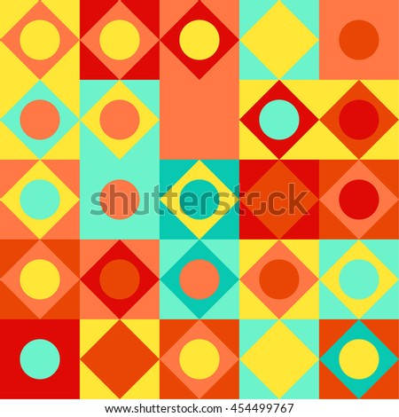 Simple geometric background. Geometric seamless pattern of diamonds and cubes. Abstract image with vibrant colors. Suitable for animation, printing, fabrics, textiles, and web