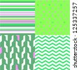 Simple geometric seamless patterns in green and pink set, vector - stock vector