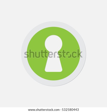 simple green icon with light gray contour and shadow - keyhole on a white background