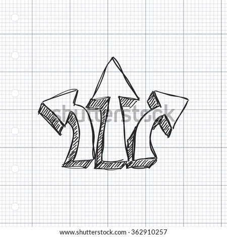 Simple hand drawn doodle of a se of three arrows