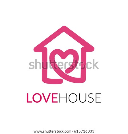Love home logovector logo template stock vector 350907458 for Minimalist house logo