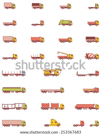 Simple linear Vector icon set representing different types of trucks