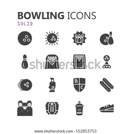 Simple modern set of bowling icons. Premium symbol collection. Vector illustration. Simple pictogram pack.