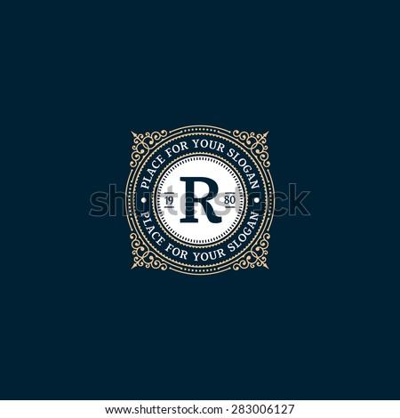 logo template calligraphic elegant ornament lines stock. Black Bedroom Furniture Sets. Home Design Ideas