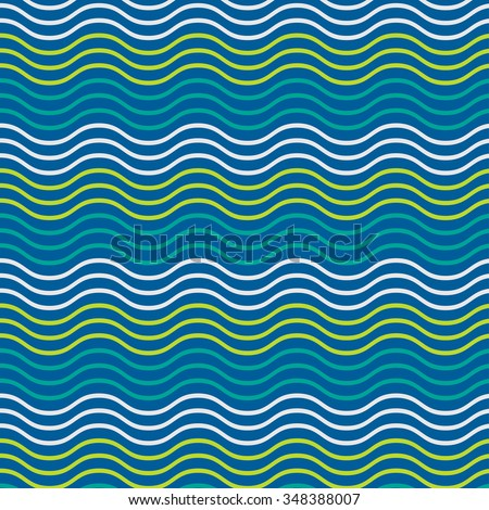 Simple seamless beauty waves pattern vector illustration. Blue, green and white gradient color aqua. Summer, winter, spring time background.