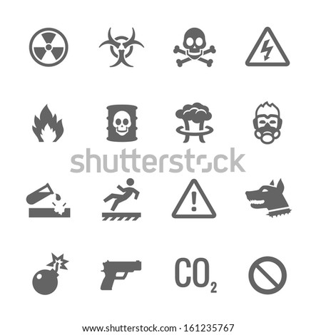 Simple set of danger related vector icons for your design.