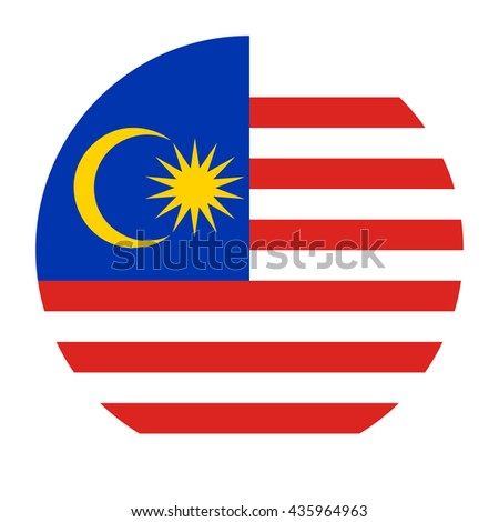 Simple vector button flag - Malaysia