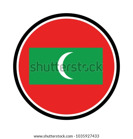 Simple vector button flag maldives maldives flag button on a white background vector