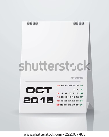Simple 2015 Year Vector Calendar With Free Space For Your Sample Text :  October 2015