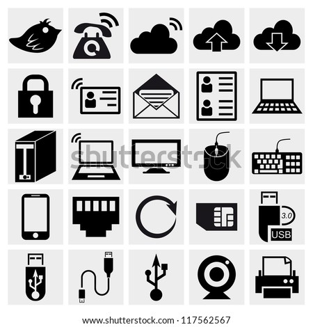 Simplus series icon set. Network and mobile devices. Computer Hardware Icons. PC Components. Simplus series. Internet icons set
