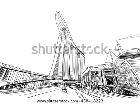 how to draw garden by the bay
