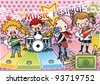 Singing Cute Young Children with Happy Music Festival - Rock & Roll Kids with various musical instruments on pink background with dot pattern : vector illustration - stock photo