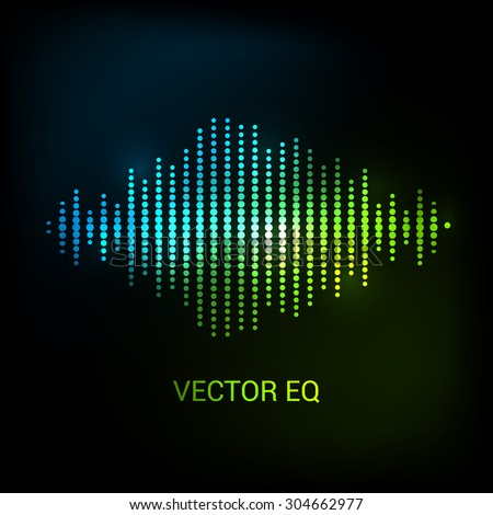 Single colorful eq, equalizer. Vector sound audio wave, frequency, melody, soundtrack in night for dance electronic disco music. Sound wave eq. Audio wave.