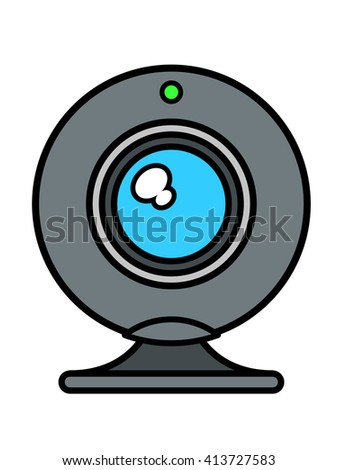 Single isolated web cam front view with blue lens and green status light on top over white background, vector