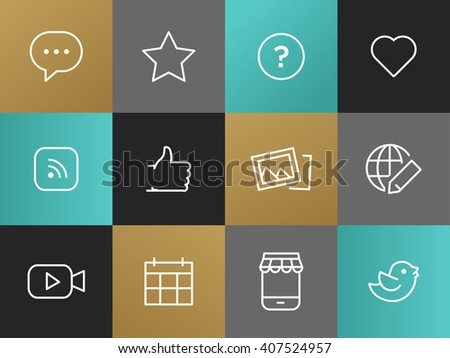 Single Line Blog, Social Network Pictograms Set. Bulb with dots, question mark, heart, rss, thumb up, pictures, globe with a pencil, bird, smartphone, calendar, camera