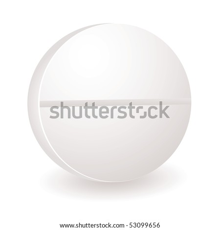 Single white round illustration of a pill or antibiotic