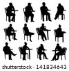Sitting people silhouettes - stock vector