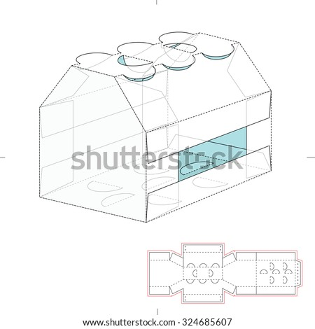 Carrier box die cut template stock vector 349083437 for Six pack holder template