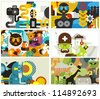 Six business card covers. Vector illustration. - stock photo