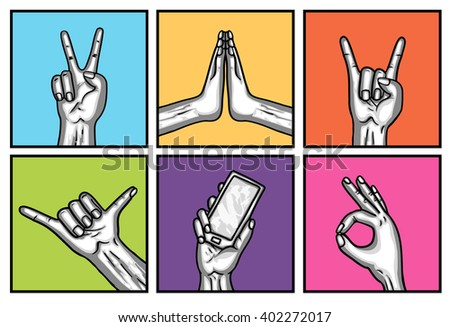 Six trendy gestures hands. Hand drawn vector illustration. Isolated. Doodle.