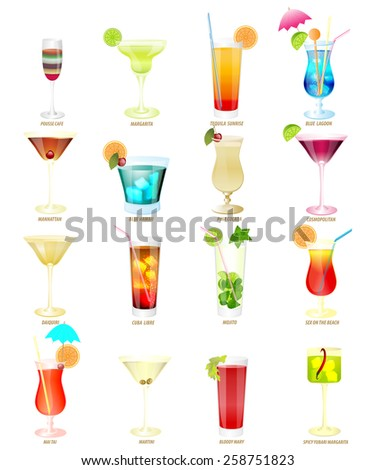 sixteen popular cocktails on a white background.