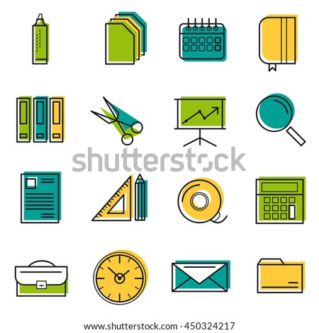 Sixteen vector colored thin line office icons. Use for web design. Paper and calendar, postal envelope and folder with files