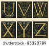 Sixteenth-Century alphabet U V W X Y Z in editable vector file - stock vector