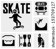 skateboarders vector icons set on gray - stock