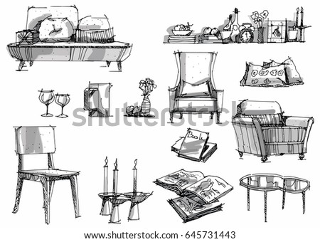 Sketch Furniture Decoration Interior Drawing Pen With Pencil Black And White Design Vector