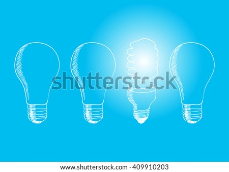 Sketch illustration of old generation bulbs and white energy saving bulb