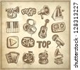 sketch music icon element collection on grunge background - stock