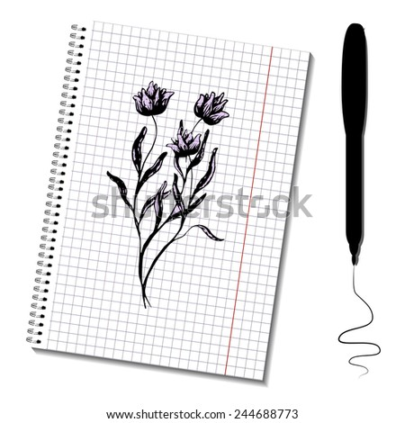 Sketch notepad with picture. Flowers bouquet. Vector layered illustration. Easy to paste your   image on the paper sheet. Can be used for business or web design.