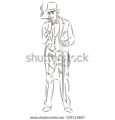 Sketch of a man in a suit and a hat with a cane smokes.