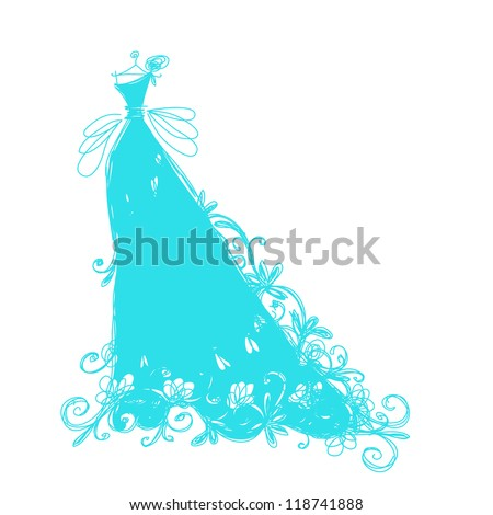 Sketch of bridal dress with floral ornament for your design