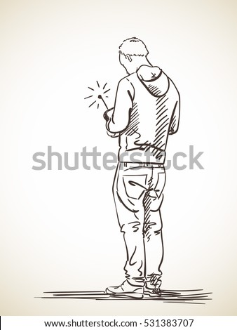 Sketch Walking Man Back View Hand Stock Vector 413190289 ...