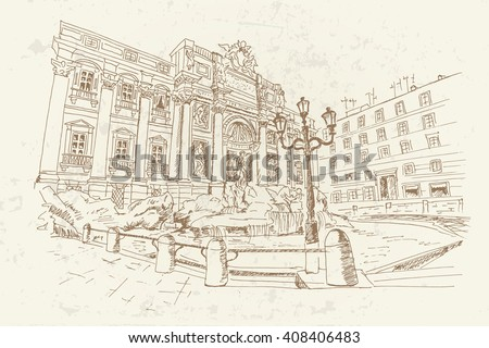 sketch of Trevi Fountain - the largest and most famous of the fountains of Rome. Italy. Retro style.