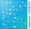 Sketch of web design icons on blue background. Vector illustration.  - stock
