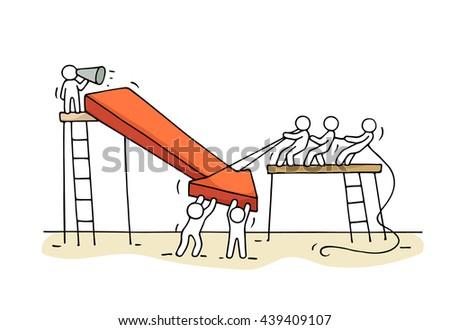 sketch working little people arrow down stock vector