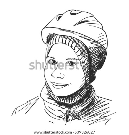 Sketch of young girl wearing bicycle helmet, Hand drawn Vector illustration.