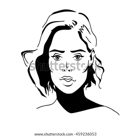 Sketch portrait of young girl with hair. Vector illustration
