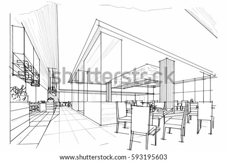 Sketch Streaks All Day Restaurant Black And White Interior Design Vector
