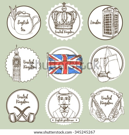 Sketch United Kingdom icons in vintage style, vector